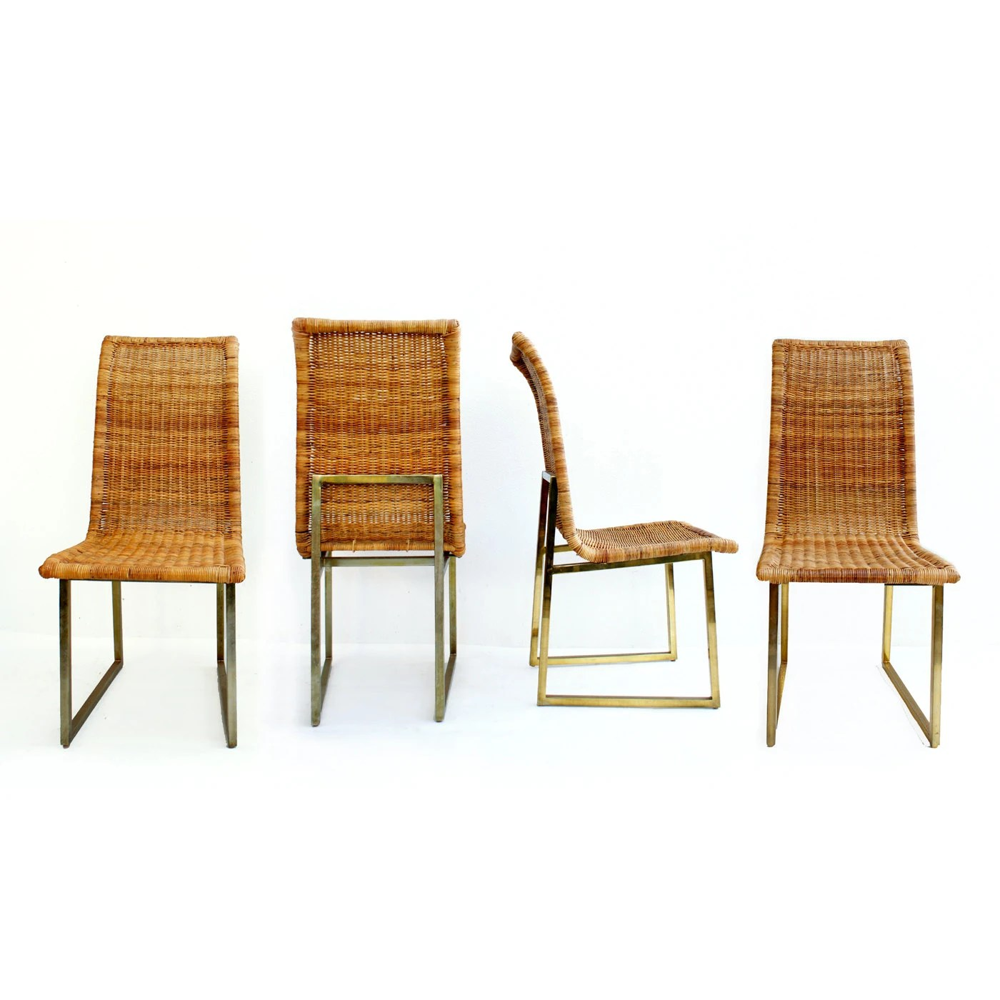 Mid century modern reed brass dining chairs set of 4 for Mid century modern dining chairs vintage
