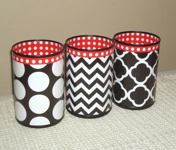 Desk Accessories: Black, White, and Red Pencil Holders