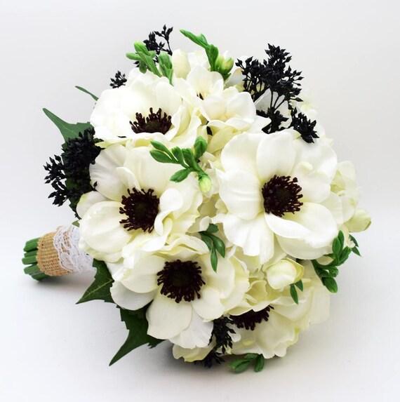 Vorbehalten weien Anemone schwarz Mitte Wedding Bouquet