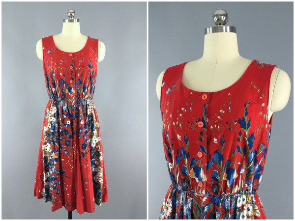 1950s Sundress Red Floral Print Cotton 50s Day Dress
