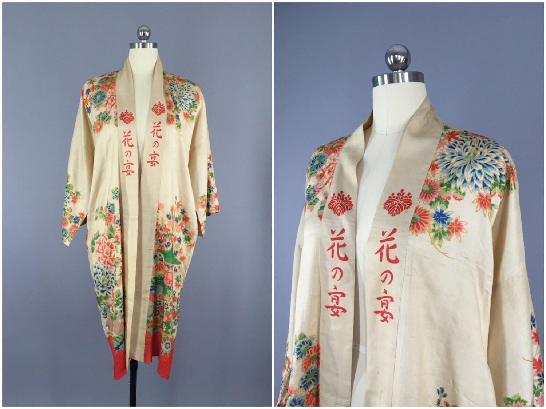 Vintage Silk Robe / 1920s Kimono Robe / Silk Dressing Gown