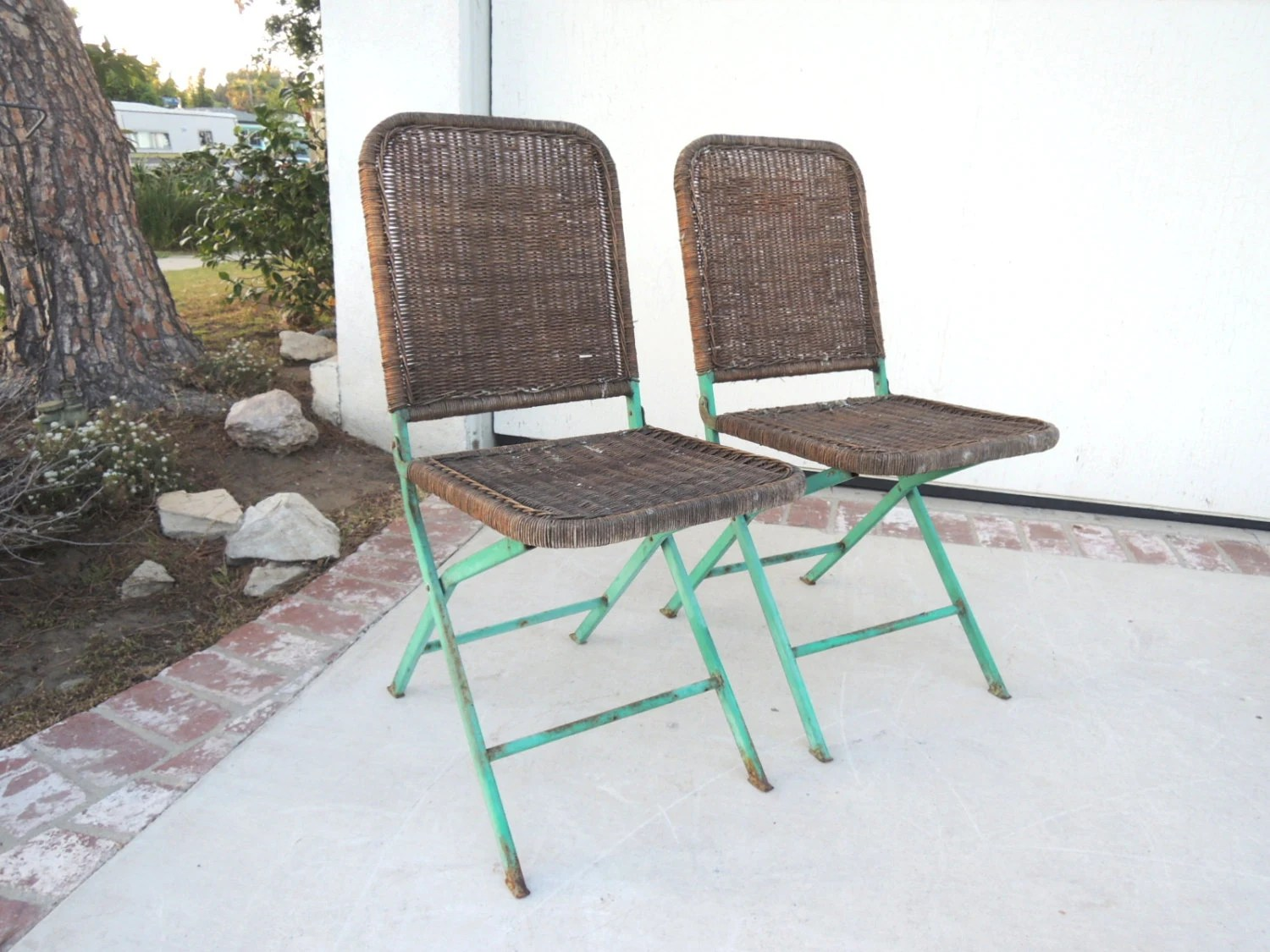 VINTAGE Pair of Outdoor Woven Bistro Chairs (Los Angeles ...