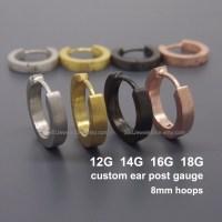 Custom gauged earrings for men Gauge hoop earrings 12G 14G