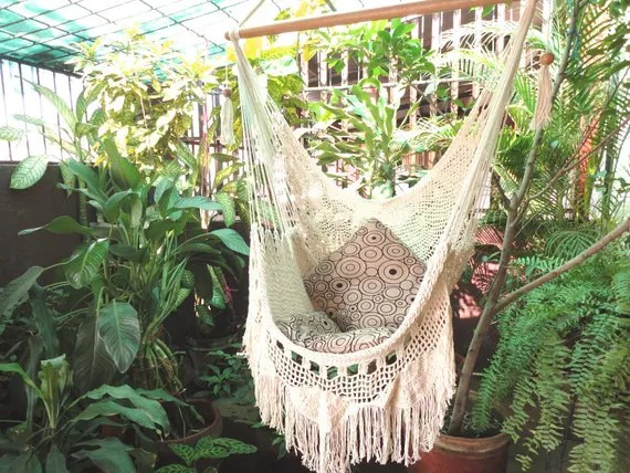 hanging chair hammock garden table white with fringe and by hamanica