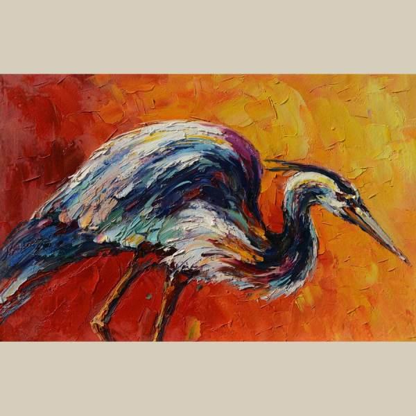 Original Canvas Oil Painting Colorful Heron Animal