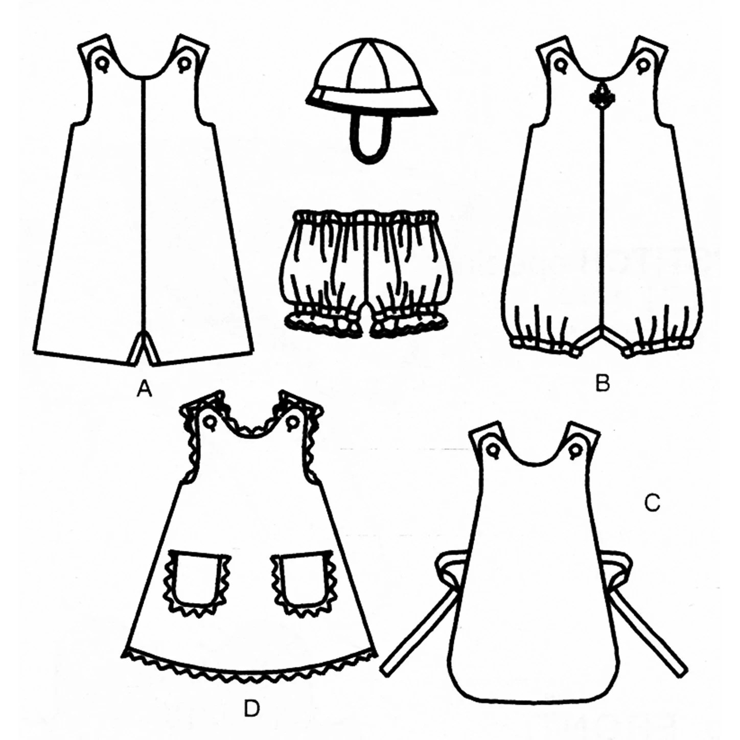 Infants and Toddlers Romper Pattern Uncut Butterick by