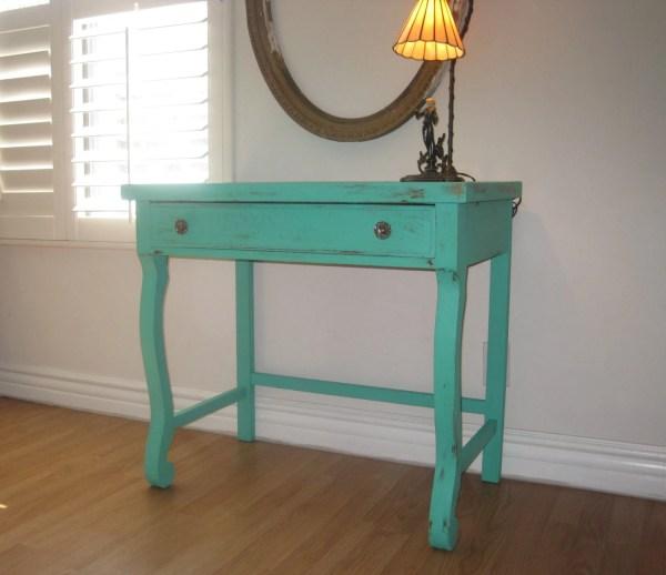 Rustic Farmhouse Oak Veneered Desk Vintage Vanity Table