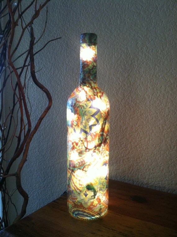 Wine Bottle Light Teal Bottle Decoupage Bottle by DesignsbyKKay