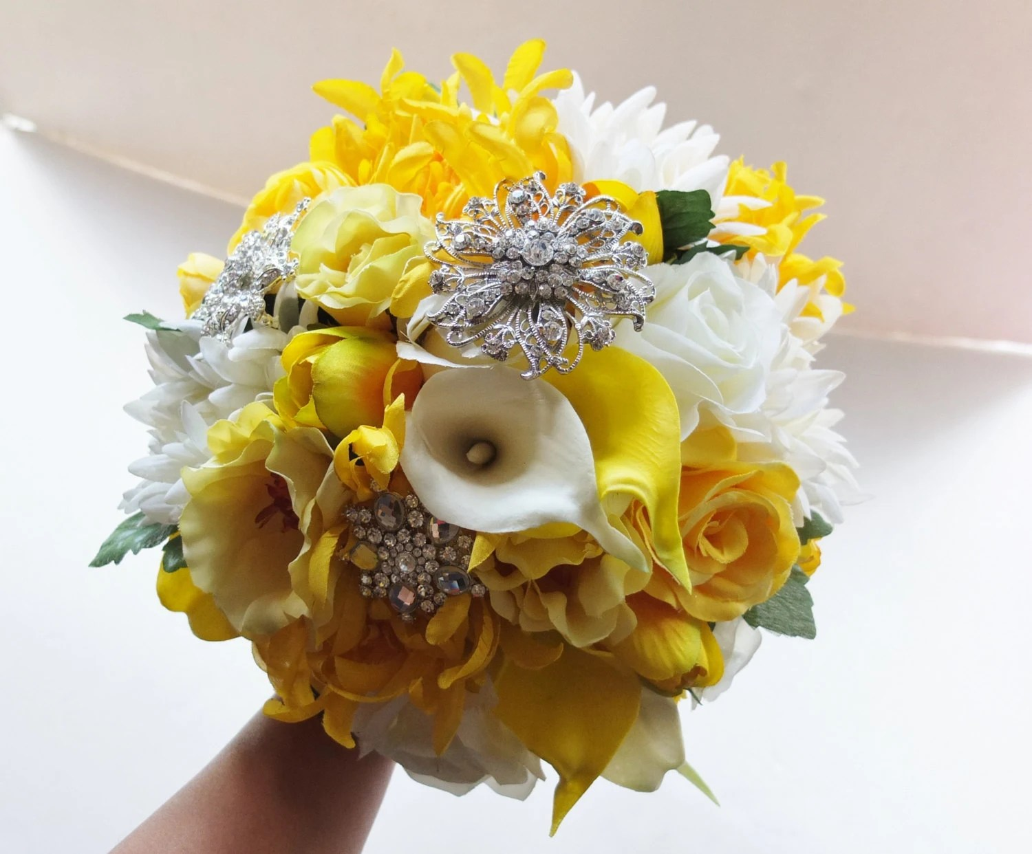 Bridal Bouquet Yellow & White Wedding Bouquet By
