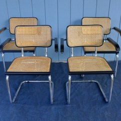 Marcel Breuer Cesca Chair With Armrests Garden Covers Wilko Set Of 4 Vintage Style Arm Chairs Cane