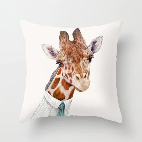 Giraffe THROW PILLOW Decorative Cushion Giraffe Decor