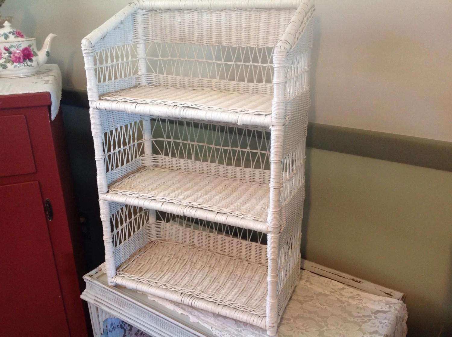Vintage White Wicker Shelf Wall Mount Or Stand Alone