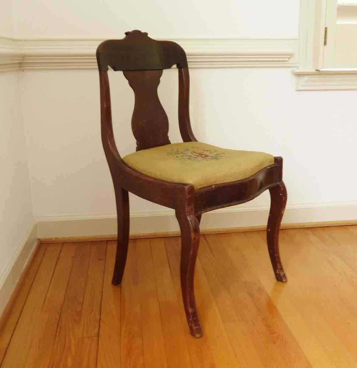 wood hand chair blue sashes wedding vintage antique embroidered seat home decor