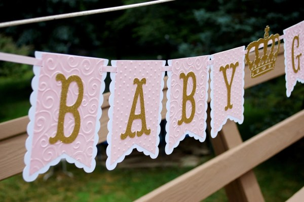 Crown Baby Shower Banner Girl Princess Birthday Party
