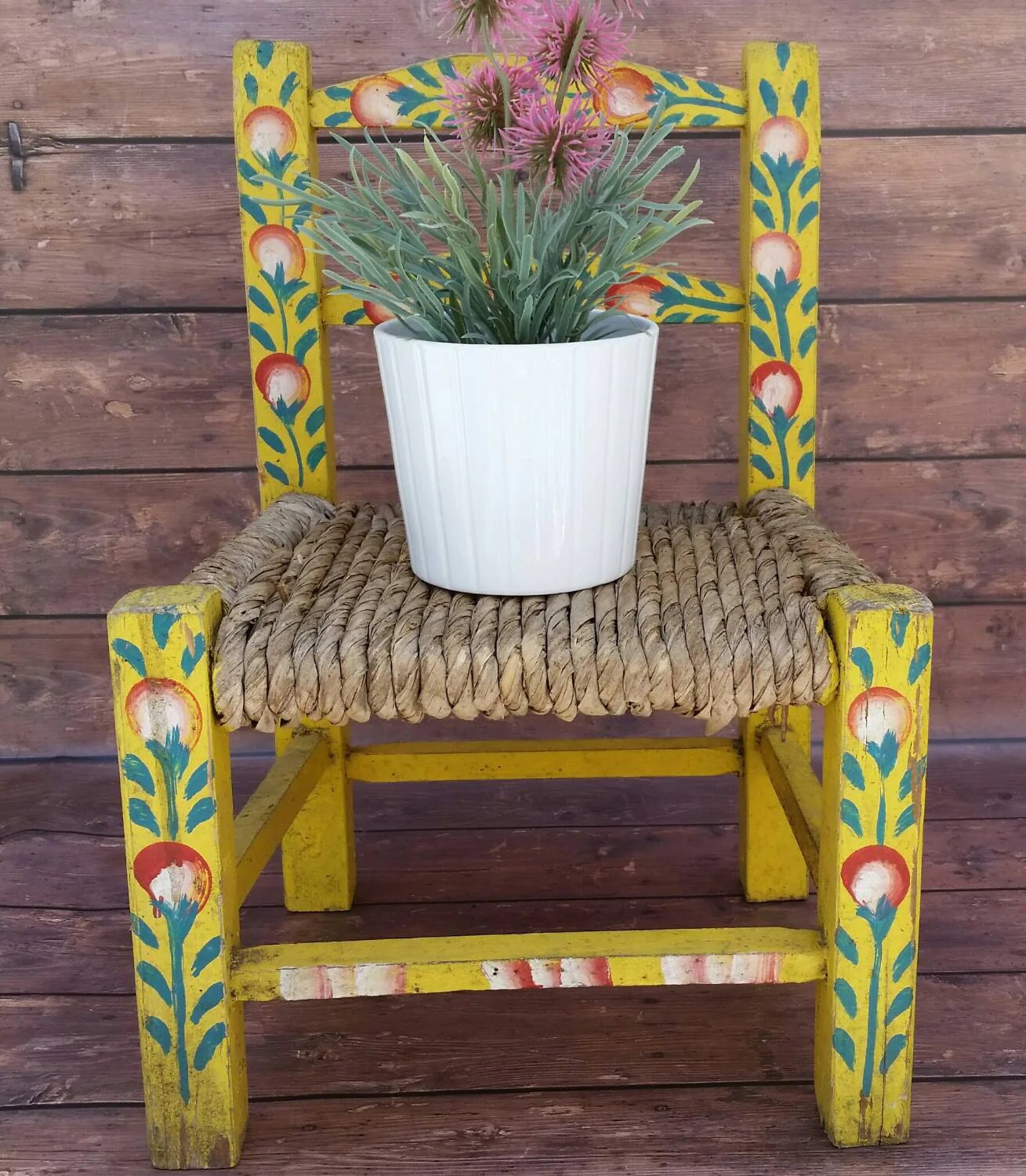 vintage wicker rocking chair glider swivel mechanism small wood and doll chair/hand painted folk art mexican