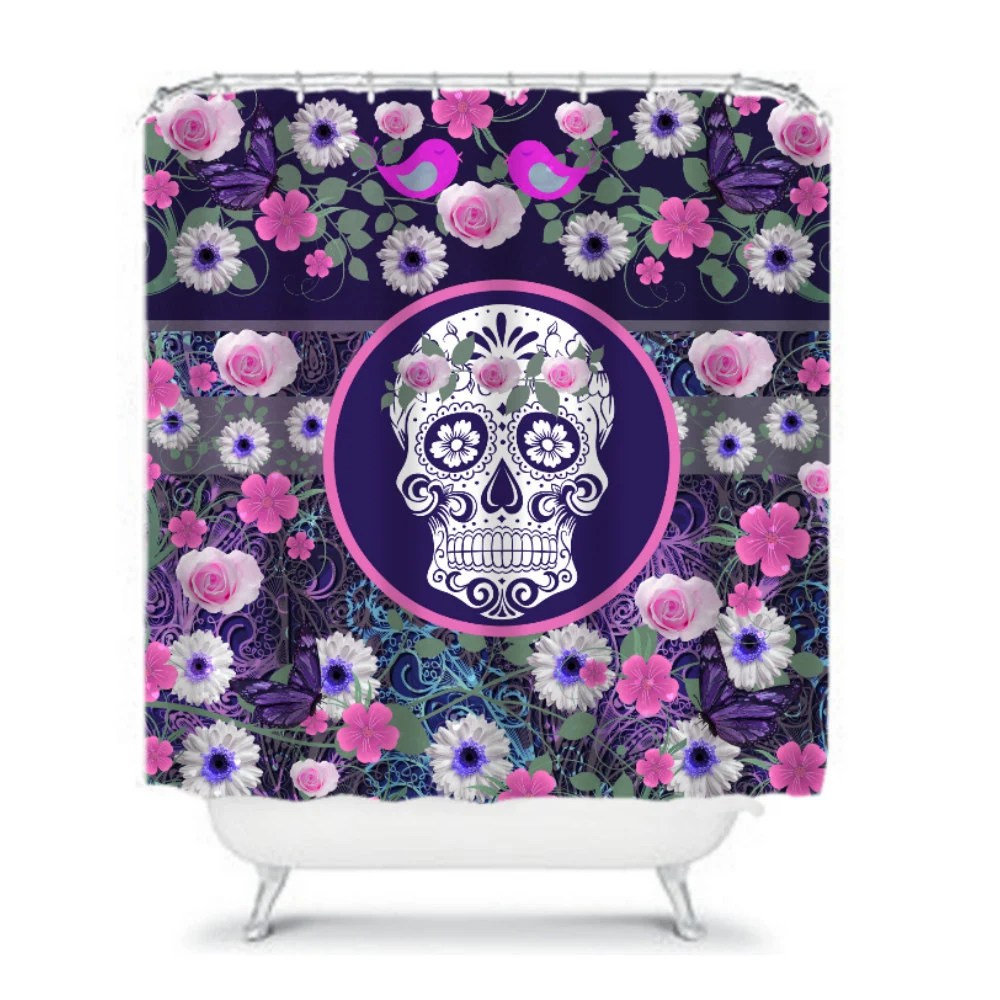 Sugar Skull Shower Curtain Roses Daisies Butterfly by FolkandFunky