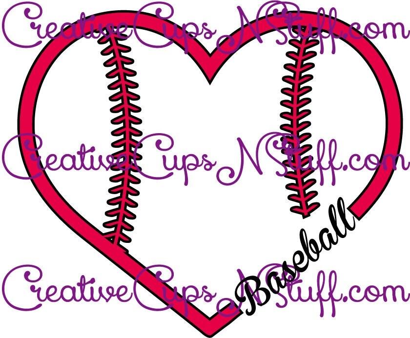 Download Baseball Love Heart Ball Design SVG EPS by CreativeCupsNStuff