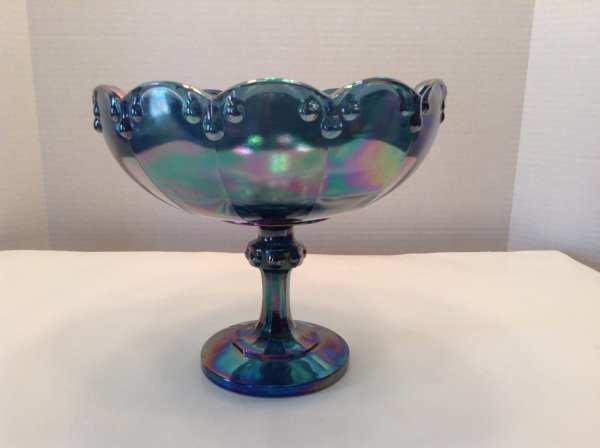 Indiana Glass Blue Carnival Pedestal Bowl Tear Drop