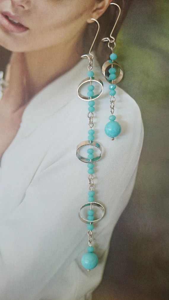 Extra Long Turquoise Earrings Set of Long and by LTLDizaynDIY
