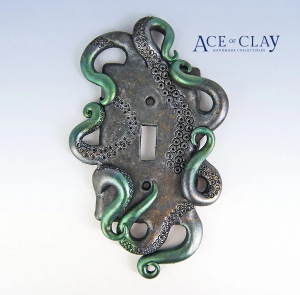 Deluxe Steampunk Octopus Light Switch Plate Sculpture Wall