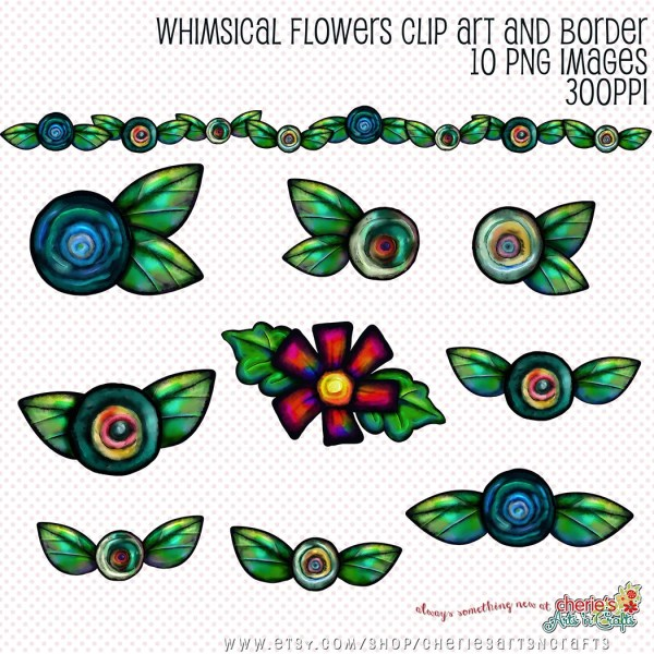 whimsical flowers clip art floral