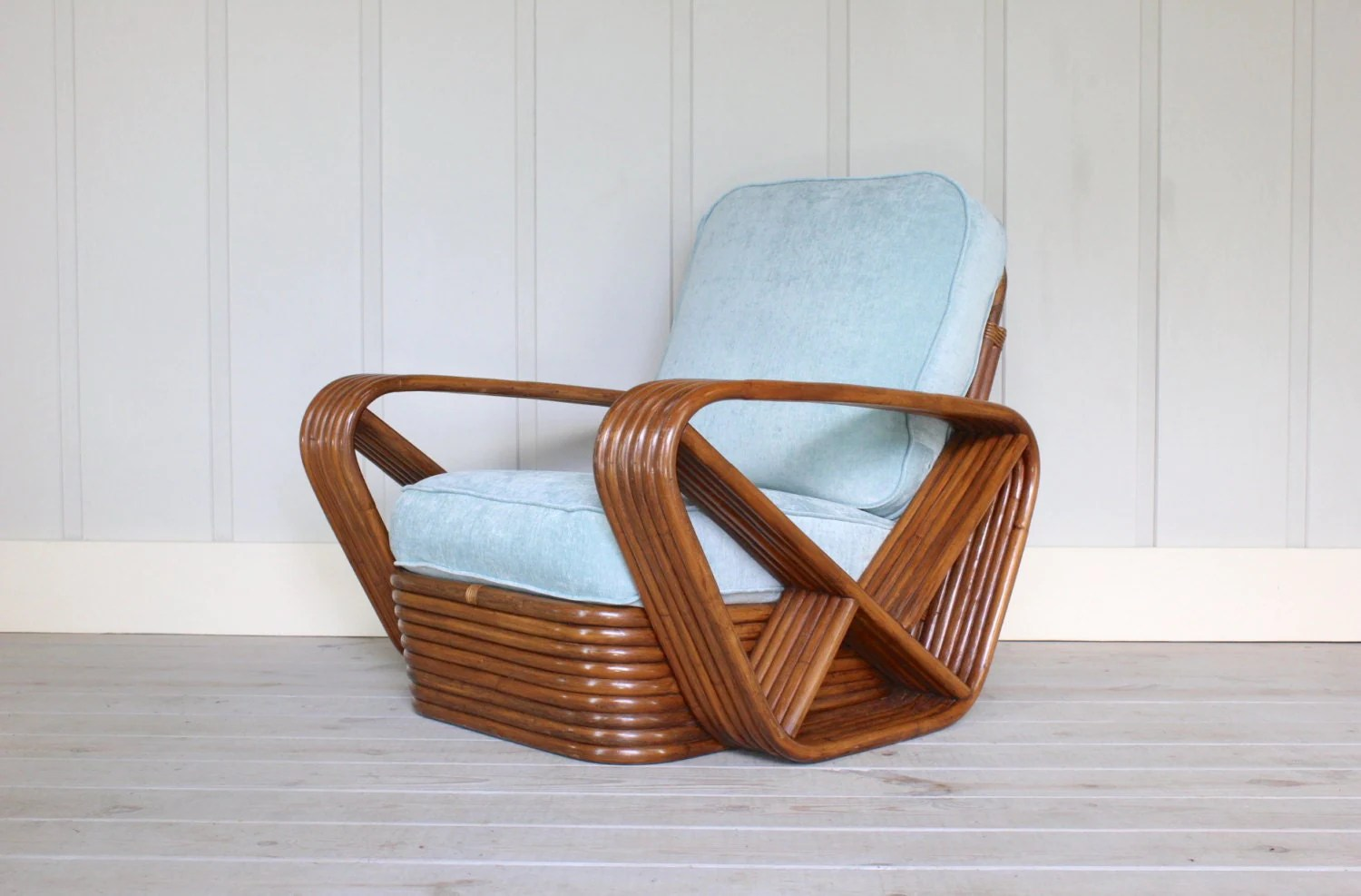 Pretzel Chair Paul Frankl Style Pretzel Arm Stacked Base Chair Deco Rattan 6