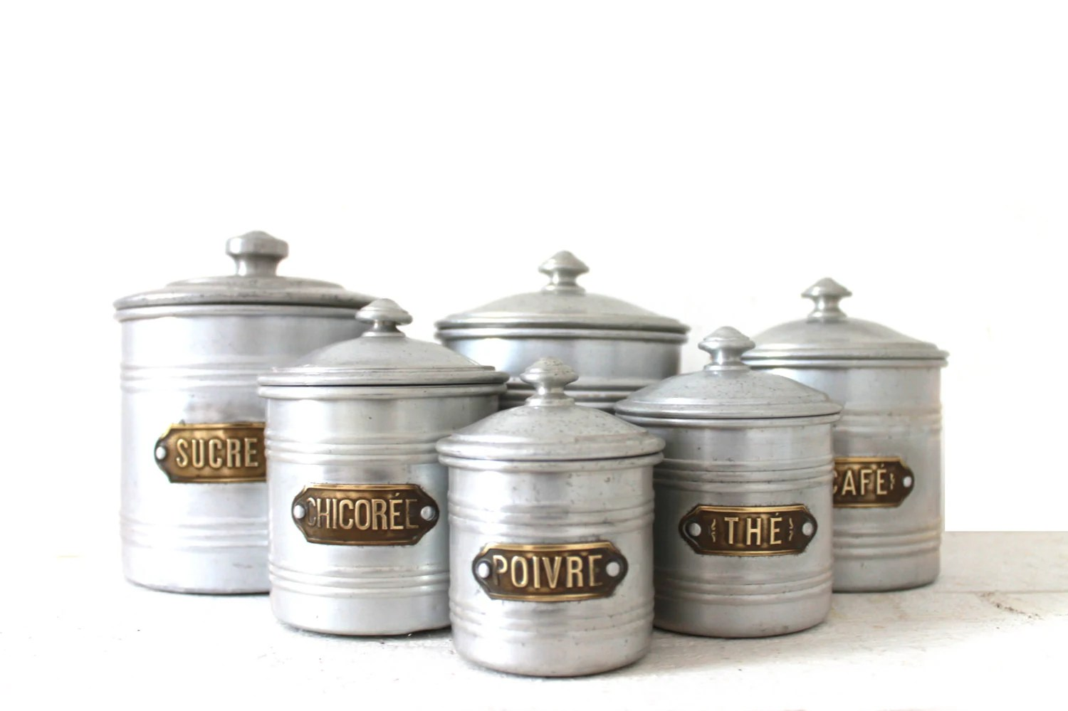French vintage art deco kitchen canister set of 6 for Kitchen set industrial