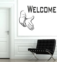 Wall Decals Welcome Vinyl Sticker Handshake Decal Art Mural