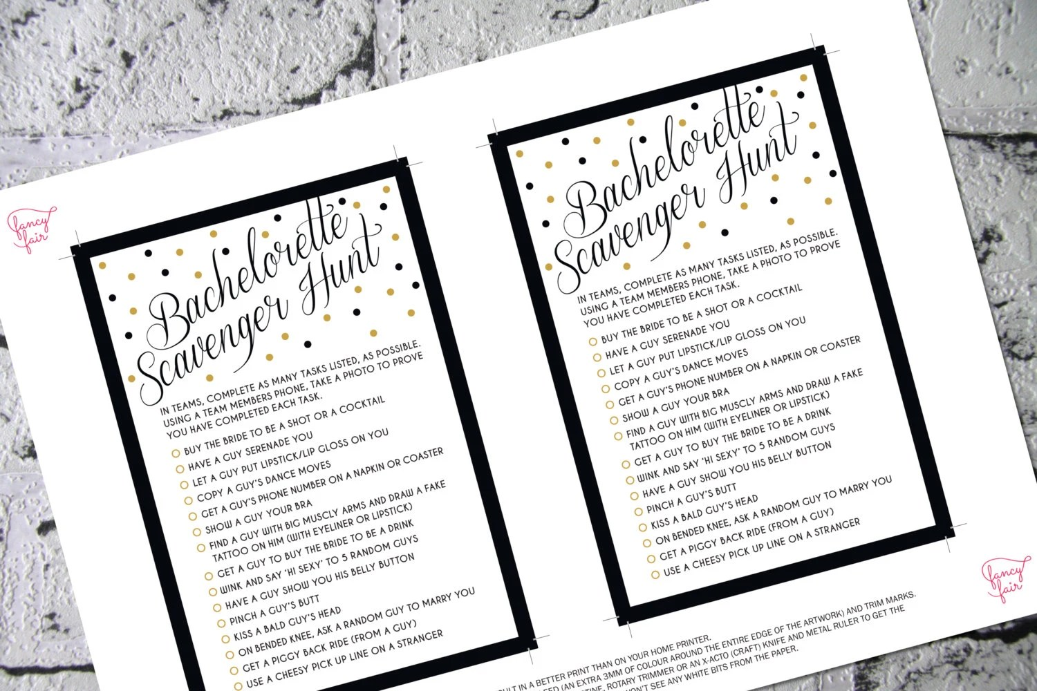 Bachelorette Scavenger Hunt Game Black and Gold by