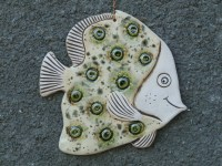 Fish Ceramic fish Fish tile Funny fish Ceramic tile green