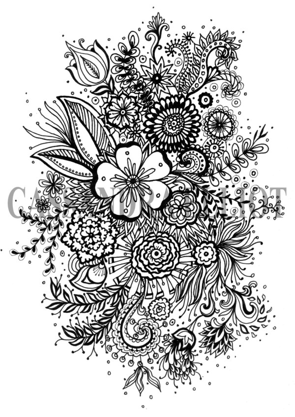 Printable Adult Colouring Page Digital Print Flower