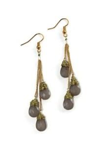 Wire Wrapped Drop Earrings, Beaded Dangle Earrings, Tear ...