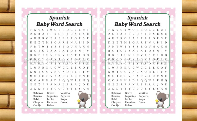 Spanish Baby Shower Word Search Printable Baby Shower Game