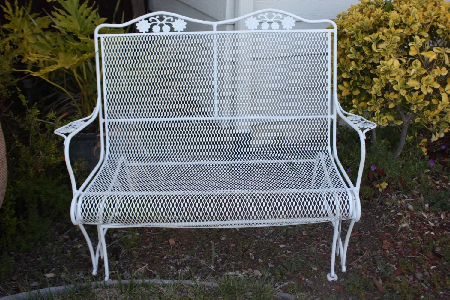 retro metal patio chairs teal adirondack vintage woodard wrought iron salterini glider mesh