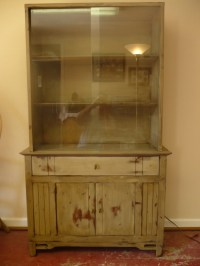 mid-century painted china cabinet glass sliding by BooksOnMain