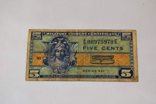 United States Five Cent Military Payment Certificate