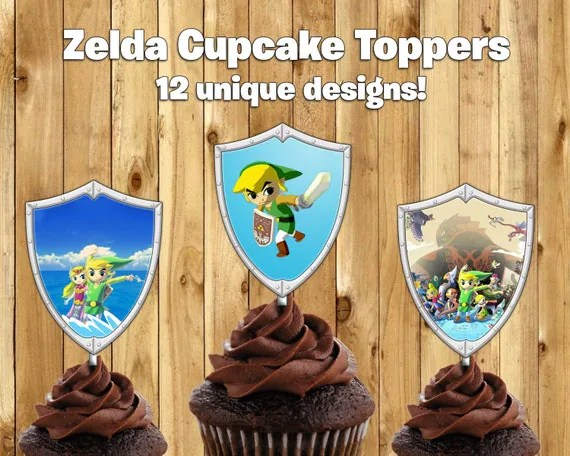 Printable Legend of Zelda Cupcake Toppers by InstaBirthday on Etsy