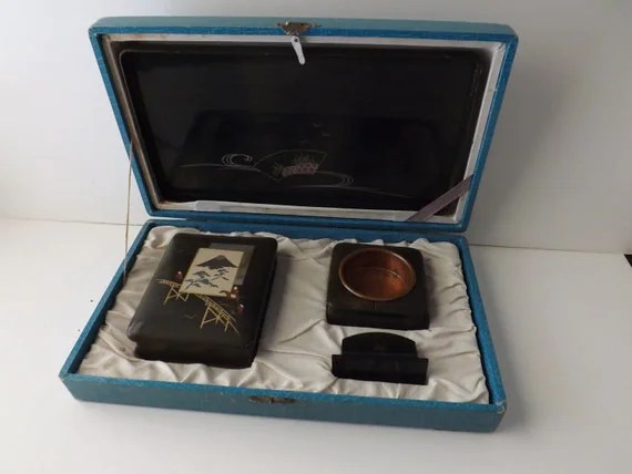 Vintage Smoking Set Coffee Table Set Cigarette Box