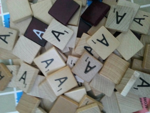 50 scrabble letter tiles all letter A from