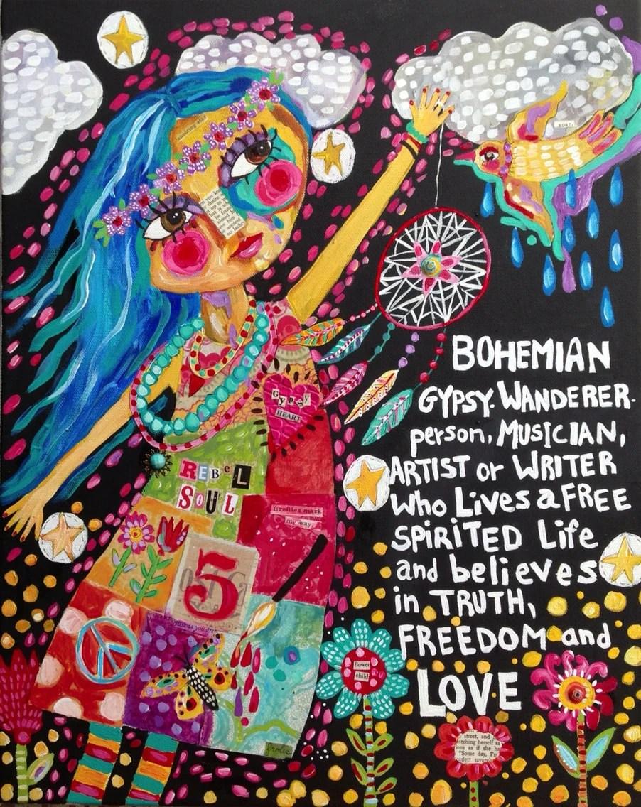 Mixed Media Folk Art Bohemian Girl