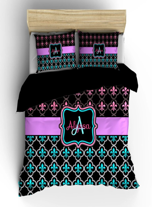 Personalized Custom Fleur De Lis Bedding Black Hot Pink