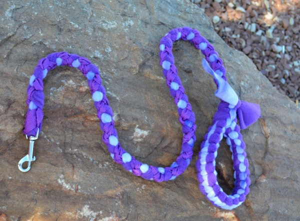 Braided Fleece Dog Leash Agility Tug Purple Sport