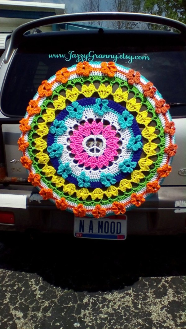 Hippie Peace Sign With Flowers Tire Cozy Spare Cover