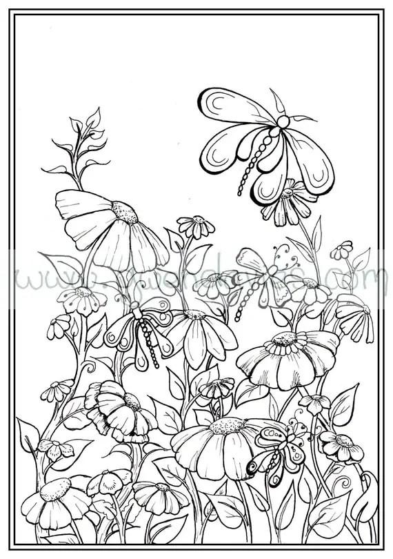 Adult colouring in PDF download garden henna zen mandalas