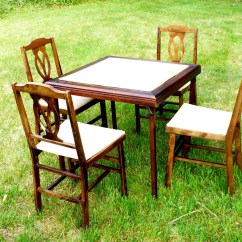 Card Table With Chairs Ergonomic Chair For Work Folding Set W 4 Legomatic Mid Century
