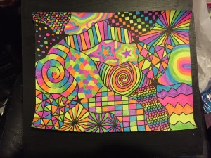 neon sharpie rainbow highlighter drawing inch