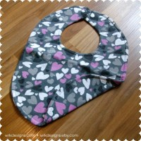 Heart Pattern Reversible Baby Bib Recycled T-Shirt Bib