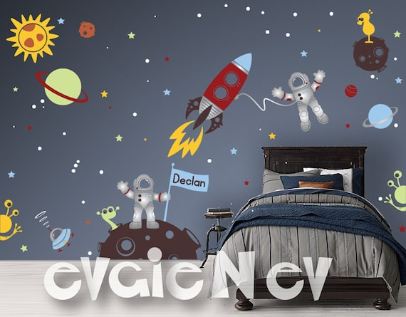 Cute Baby Shoes Wallpaper Custom Flag Name Outer Space Wall Decals With Astronauts And