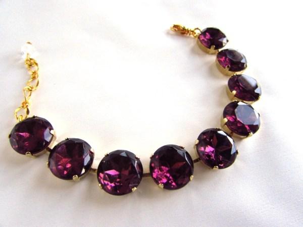 Purple Crystal Bracelet Amethyst Tennis