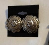 Vintage Pewter Western Concho Pierced earrings